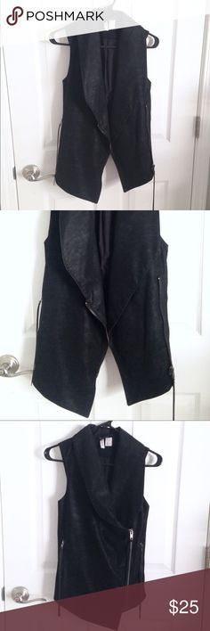 Black faux leather vest Black faux leather vest. Never been worn and has just been hanging in my closet. H&M size 2 = XS/S. H&M Jackets & Coats Vests