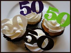 This cake and cupcakes were for woman turning 1 layer chocolate cake, 1 layer vanilla cake with buttercream filling, covered in fo. 50th Birthday Party Themes, 50th Birthday Cupcakes, Birthday Menu, 50th Cake, 70th Birthday Gifts, 50th Party, Birthday Celebration, Birthday Cookies, Birthday Ideas