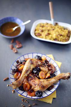 J'avais envie d'un plat mêlant plusieursfruits secs et des cuisses de poulet. J'ai utilisé desabricots, des pruneaux et des raisins secs. Après, si vous