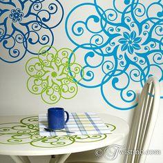 Vinyl Wall Decals: Mandala Doily Art Designs. $54.00, via Etsy.