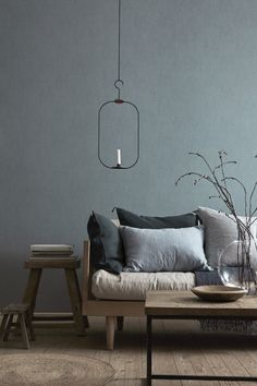 77 Gorgeous Examples of Scandinavian Interior Design Grey-and-blue-Scandinavian-living-room - Modern Living Room Grey Interior Design, Scandinavian Interior Design, Interior Design Inspiration, Interior Styling, Design Ideas, Design Trends, Color Trends, Room Interior, Color Inspiration