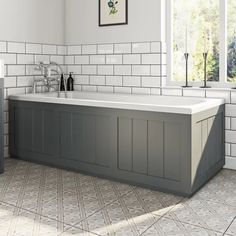 Discover The Bath Co.Dulwichstone grey wooden bath front panel complete with timeless, traditional design and tongue and groove detailing. Wooden Bath Panel, Wood Bath, Tiled Bath Panel, Bathroom Bath, Grey Bathrooms, Bathroom Ideas, Family Bathroom, Loft Bathroom, Bathroom Vanities