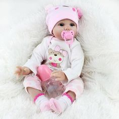 Cheap bebe boneca reborn, Buy Quality reborn real directly from China boneca reborn Suppliers: 22 inches Realistic Newborn Baby Dolls Soft Body Silicone Vinyl Doll Bebe Bonecas Reborn Real Looking Alive Dolls Girls Gift Baby Dolls For Sale, Real Baby Dolls, Baby Doll Toys, Realistic Baby Dolls, Newborn Baby Dolls, Baby Girl Dolls, Real Looking Baby Dolls, Baby Dolls For Toddlers, Cute Baby Dolls