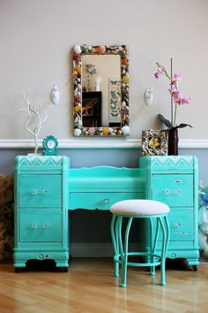 SOLD Contact for custom piece Beachy Mint Turquoise Vanity Table - JudeBuxom. Decor, Redo Furniture, Painted Furniture, Beachy, Vanity, Vanity Table, Furniture Makeover, Bedroom With Bath, Interior Design Bedroom