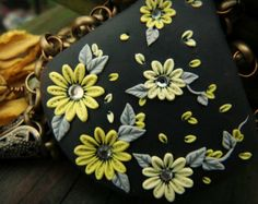 polymer clay embroidery | Moobie Grace - Statement Necklace - Polymer Clay - Embroidered ...