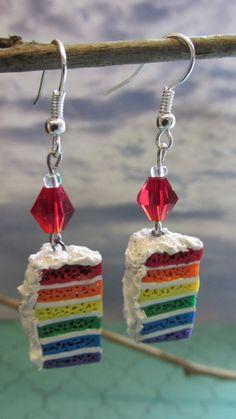 Rainbow Cake Slice Earrings by dragonsdreamsdesigns on Etsy, $16.00