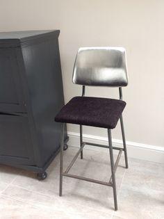 Vintage stool reupholstered in Designers Guild velvet and silver leather