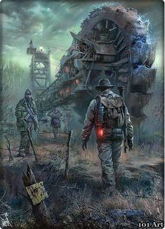 Wanderers Near a Bucket-Wheel Excavator Post Apocalypse, Apocalypse Survival, Sci Fi Fantasy, Dark Fantasy, Fantasy Dragon, Cthulhu, Post Apocalyptic Art, Fallout Art, Armadura Medieval