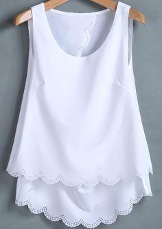White Sleeveless Back Split Chiffon Vest - Sheinside.com