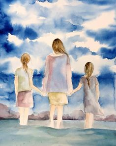 Your place to buy and sell all things handmade mother and and two daughters by the ocean by claudiatremblay on Etsy Mother Daughter Art, Mother Daughter Pictures, Nursery Wall Art, Wall Art Decor, Room Decor, Claudia Tremblay, Mother And Child Painting, Sisters Art, Two Daughters
