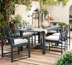 Need patio inspiration? Shop Pottery Barn for outdoor and patio furniture and decor. Find outdoor dining tables, sofas, sectionals and more and create an inviting outdoor space. Extendable Dining Table, Patio Dining, Dining Table Chairs, Side Chairs, Patio Tables, Wicker Table, Outdoor Dining Tables, Wicker Sofa, Desk Chairs