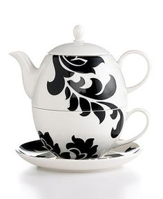 Martha Stewart Collection Dinnerware, Lisbon Black Tea Set for One - Serveware - Dining & Entertaining - Macy's