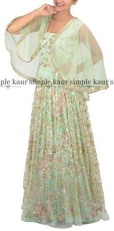 Not just the mint green colour but also the cape design, makes this outfit a hot seller this season.  Shop on at http://www.simplekaur.com/Contemporary/Mint-Floral-Net-Cape-style-Gown-id-2534681.html