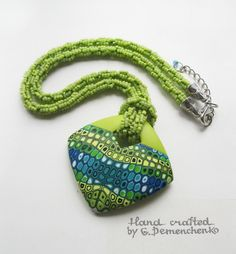 Polymer clay caned necklace/pendant - greens, blues, retro cane