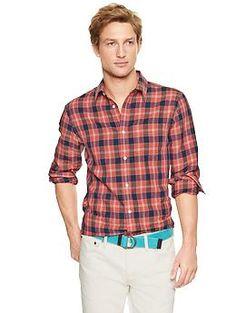 Linen patch pocket plaid shirt