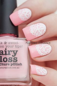 Pastel Pink and White Lace Nails