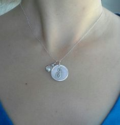 Initial Pendant with Birthstone Necklace by BitsofSilver on Etsy.($39.00+)