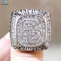 NCAA 2004 University of Southern California Trojans football championship ring Black Red Enamal Crystal Silver Pleated Ring Men