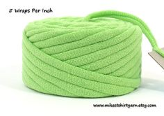 'Think Spring'. Spring Green Recycled T Shirt Yarn 18 Yards. Handmade by MikesTShirtYarn