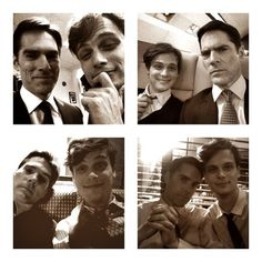 ".Thomas Gibson and Matthew Gray Gubler ~ Aaron Hotchner and Dr. Spencer Reid on ""Criminal Minds"""
