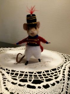 Christmas Ornament from DreamLabs3: Needle felted Christmas mouse in the soldier uniform. This is a character from a fairy tale of Hoffmann The Nutcracker Ballet. He is bright and elegant decoration on a Christmas tree.  The height is about 4 ( 10 cm).