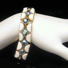 Lovely Vintage #Trifari White Thermoset Blue #Rhinestones #Bracelet from #MyClassicJewelry