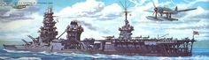 IJN Hybrid Battleship Ise after conversion from a Battleship. Offroad, Imperial Japanese Navy, Military Weapons, Military Equipment, Ship Art, Aircraft Carrier, Battleship, Military History, Armed Forces