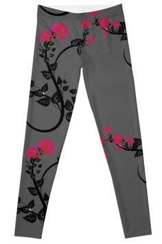 Leggings - Unique Patterns - illustration design  Leggings leggins Red And Pink Flower Roses by FallenRevol