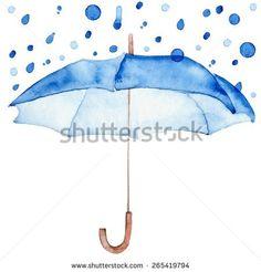 Rain drop on blue umbrella.  Watercolor blue autumn background. Square composition with umbrella and rain drops. Design template for label, banner, card.
