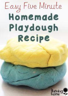 EASY homemade playdough + a printable FREE, printable recipe card for the recipe!