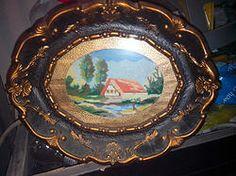 Arte Povera Rumena con Arazzi naif sotto vetro