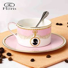 [European] floris creative bone china coffee cup and saucer with spoon luxury suite fashion gifts ceramic cup and saucer -tmall.com Lynx