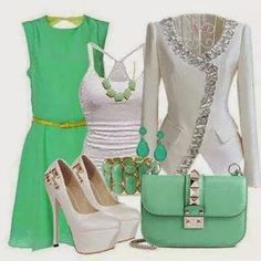 Green and white stylish look Apple Body Shape Outfits, Pretty Outfits, Cute Outfits, Matching Outfits, Types Of Clothing Styles, Fashion Infographic, Fashion Terms, What To Wear Today, Fashion Outfits