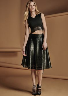 Leatherette skirt, cropped top