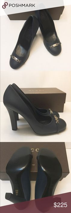 🆕NIB Authentic Gucci leather heels SZ 38.5 Brand new in box!!! Never worn. 100% Authentic. Beautiful Gucci shoes. Have some minor scuffs please see the last pic. Hardly noticeable when wearing them. Color is dark blue. Please see pics. Size 38.5.  Come in original Gucci box. No dust bag.                                                                ❌no trade ❌no lowballing offers! Gucci Shoes
