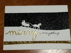 Stampin' Up - Michelle Johnstone Christmas cards with sleigh ride & greetings framelits, Jingle all the way, black glitter paper http://www.stampinup.net/esuite/home/michellejstamping/