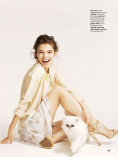 Pyjama Party – The May issue of Glamour UK captures the trend of pyjama style pants and dresses with Matthew Eades' (One Photographic) adorable images starring Iulia Cirstea and a feline companion.