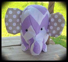 Stuffed Baby Elephant Small Plush Toy Purple, Lavender, White,  Grey, Chevron on Etsy, $15.00