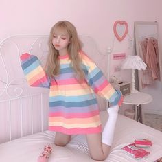 If you 💜 Kfashion & 🌈's then you will adore this sweater 🎀 Available 💜 girl Ulzzang Rainbow Sweater 🌈 Harajuku Fashion, Kawaii Fashion, Cute Fashion, Girl Fashion, Harajuku Clothing, Cute Korean Fashion, Ulzzang Fashion, Lolita Fashion, Ulzzang Girl