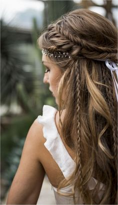 New Braided Hairstyles, Wedding Hairstyles For Long Hair, Loose Hairstyles, Straight Hairstyles, Hairstyle Wedding, Elegant Hairstyles, Pretty Hairstyles, Country Hairstyles, Dance Hairstyles