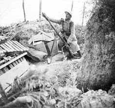 A French soldier aiming a rifle-grenade on the Champagne front, 1916. Whilst battle was raging at Verdun other areas under French control took on a secondary importance and neither side launched any...