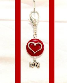Red Howlite Dog Collar Charm, Pet Collar Charm, Silver Heart Charm, Silver Love Charm, Dog Bling, Dog Jewelry, Pet Accessories, Pet Gift by RBeadDesigns