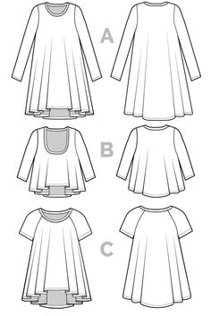 An elegant basic featuring a fluidly draped silhouette, the Ebony T-Shirt & Dress Pattern is a versatile wardrobe staple you'll want to wear every day. Available as digital PDF pattern and print pattern. Clothing Patterns, Dress Patterns, Sewing Patterns, Sewing Ideas, Sewing Diy, Sewing Hacks, Clothing Ideas, Sewing Crafts, Maxi Tee
