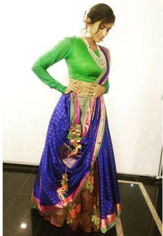 Lakshmi Manchu wearing a lehenga saree by Sailesh Singhania for a wedding Saree Draping Styles, Saree Styles, Indian Attire, Indian Ethnic Wear, Indian Dresses, Indian Outfits, Choli Dress, Ghagra Choli, Saree Blouse