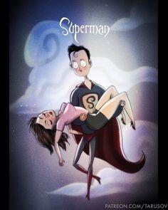 Super-heróis em estilo Tim Burton, por Andrew Tarusov - E se super-heróis conhecidos como Batman, Homem de Ferro e Mulher Maravilha fossem ilustrados no estilo Tim Burton? Confira o resultado!
