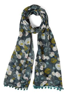 All the World's a Garden Scarf by Disaster Designs - Multi, Floral, Tassels, Casual, Boho, Spring, Summer, Cotton, Sheer, Woven, Grey, Poms