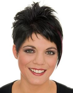 A short black straight messy spikey hairstyle by Web Collections