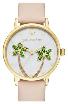Crystal-embellished palm trees sway over the crisp white dial of this whimsical round watch that is a gentle reminder that it's time to relax.