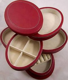 Oval-Jewelry-Box-5-Sliding-Storage-Compartments-7-Tall-Faux-Red-Leather-Case