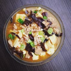 Mapo Tofu Ingredients: 1. 2 pcs of egg tofu 2. Black Mushrooms (bok ii) as much as you like haha 3. 50 gr of minced chicken 4. 20 gr of minced prawn 5. Scallions 6. Garlic (finely chopped) 7. Salted soy sauce  8. Oyster sauce 9. Sesame oil 10. Pepper  11. 2 tea spoons of corn starch (maizena)  13. Ginger. How to cook it: I will put my blog link once it is ready.
